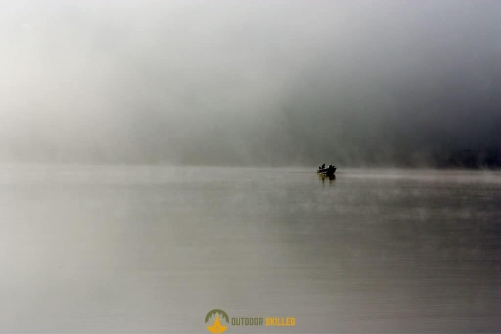 trout fishing in foggy weather