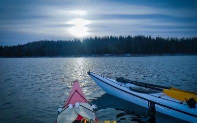 Kayaks-anchored